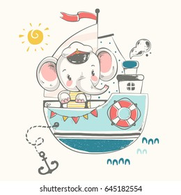Cute elephant sailor on the ship cartoon hand drawn vector illustration. Can be used for t-shirt print, kids wear fashion design, baby shower invitation card.