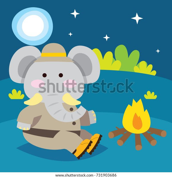 Cute elephant sitting beside a bonfire in the forest. Cute animal series for kid. Cute and funny animal t shirt design for kid.