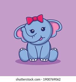 cute elephant sitting cartoon illustration