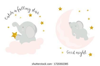 Cute elephant sleeps on the moon and sails on a cloud with stars