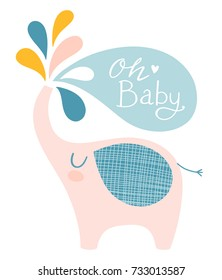 Cute elephant vector illustration for baby shower or other occasions. Nursery print design.