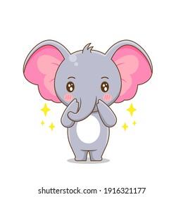 Cute elephant. Vector illustration of chibi character isolated on white background.