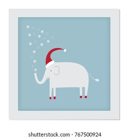 Cute elephant vector for print,Christmas card, poster or wallpaper
