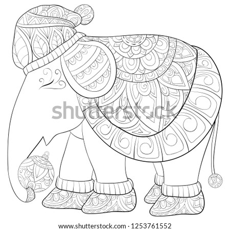 Christmas Boots Drawing.Cute Elephant Wearing Christmas Cap Boots Stock Vector