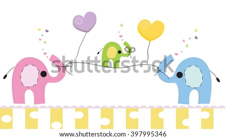 Cute Elephants Baby Elephant Baby Shower Stock Vector Royalty Free