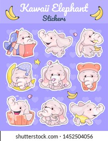 Cute elephants kawaii cartoon vector characters set. Adorable and funny animal different poses and emotions isolated sticker, patch. Anime baby girl elephants emoji on purple background