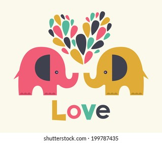 cute elephants in love. vector illustration