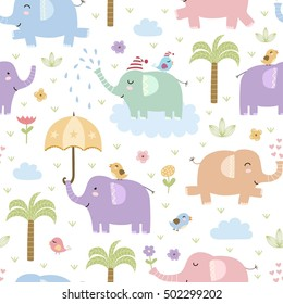 Cute elephants seamless pattern. Vector texture in childish style great for fabric and textile, wallpapers, web page backgrounds, cards and banners design