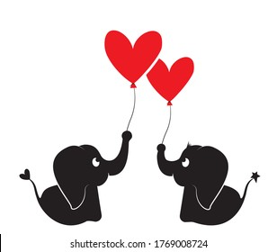 Cute elephants silhouette holding heart balloon, vector. Two elephant cartoon characters, minimalist poster design, minimalist background, wall decals, wall artwork, cute elephant illustration