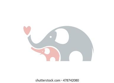 Cute elephants. Vector illustration.