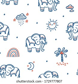 Cute Elephants Vector Seamless Pattern. Weather Elements Patterns and Baby Elephants. Doodle Cartoon Animals Background for Kids. Children's wallpaper