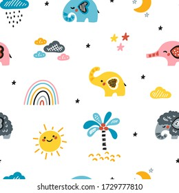 Cute Elephants Vector Seamless Pattern. Weather Elements Patterns, Baby Elephants and Little Mammoth. Doodle Cartoon Animals. Colorful Background for Kids. Children's wallpaper