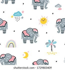 Cute Elephants Vector Seamless Pattern. Weather Elements Patterns and Baby Elephants. Doodle Cartoon Animals Colorful Background for Kids. Children's wallpaper