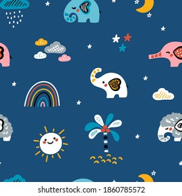 Cute Elephants Vector Seamless Pattern. Weather Elements, Baby Elephants and Little Mammoth. Doodle Cartoon Animals. Colorful Background for Kids. Children's wallpaper