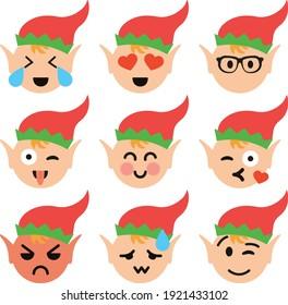 Cute Elf Emoji Emoticon Artwork Funny Christmas Holiday Time