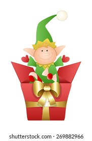 Cute Elf with Golden Ribbon Christmas Gift