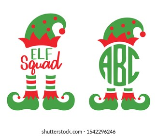 Cute elf squad monogram frame vector illustration. Christmas elf hat and boots.