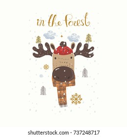 Cute Elk, Forest Animal, Can be used for baby t-shirt print, fashion print design, kids wear, baby shower celebration greeting and invitation card.