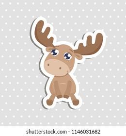 Cute elk sticker vector illustration.