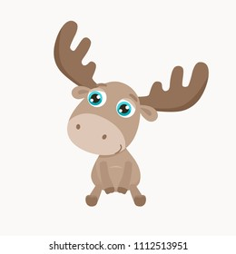 Cute elk vector illustration.  Flat design.