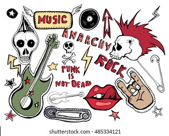 Cute embroidery patches and stickers collection. Punk is not dead. Hand drawn vector sketches. Lips, skull, pins, guitar,stars,arrows,  hand, rock symbols, hand written tag lines. Vector skulls