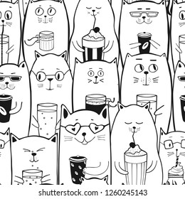 Cute emoji cats with coffee and drinks. Seamless pattern. Hand drawn animal silhouettes. Kids Background. Great for wrapping, printing, fabric, textile. Vector illustration