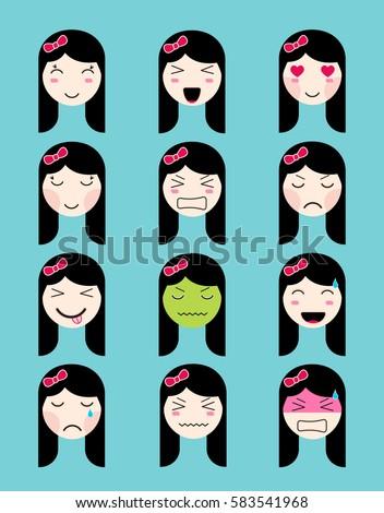 Cute Emoji Collection Kawaii Asian Girl Stock Vector Royalty Free