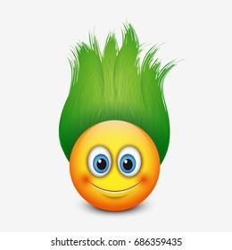 Cute emoticon with green hair - emoji - vector illustration