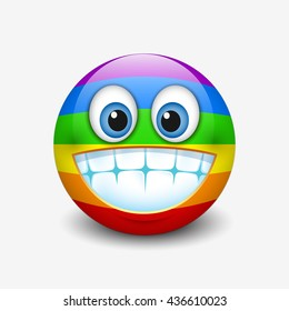 Cute emoticon, grinning, showing teeth isolated on white background with rainbow colors motive - smiley - vector illustration