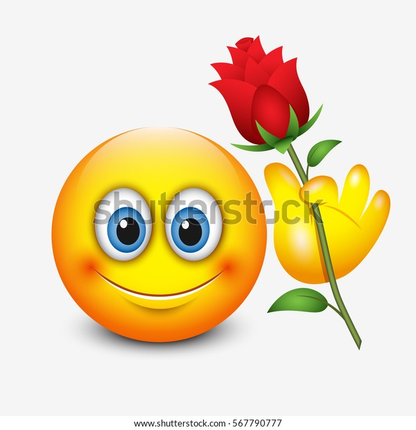 Cute Emoticon Holding Red Rose Saint Stock Vektorgrafik Lizenzfrei