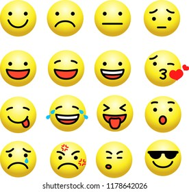 Cute emoticon icon set