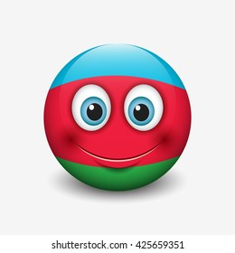 Cute emoticon isolated on white background with Azerbaijan flag motive - smiley - vector illustration