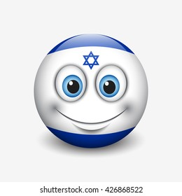 Cute emoticon isolated on white background with Israel flag motive - smiley - vector illustration