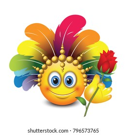 Cute emoticon isolated on white background with carnival headdress -emoji - smiley - vector illustration