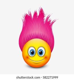 Cute emoticon with pink hair - emoji - vector illustration