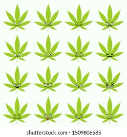 Cute emoticon set: adorable cartoon cannabis leaf with different emotions. Flat vector illustration.