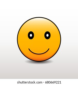 Cute emoticon smiling. Vector emoji smiley