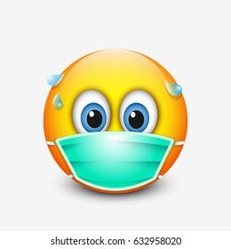 Cute emoticon wearing medical mask - emoji - vector illustration