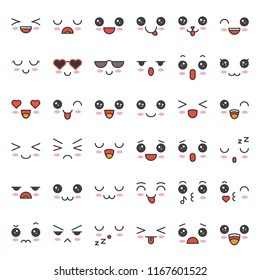 cute emotion face in various expession, editable stroke icon set 1/4