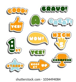 Cute encouragement phrases for school and kindergarten. Vector labels set