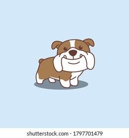 Cute english bulldog cartoon icon, vector illustration