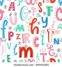 Cute English hand written alphabet, vintage vector seamless pattern. Lowercase and uppercase letters, fine for card, lettering, poster