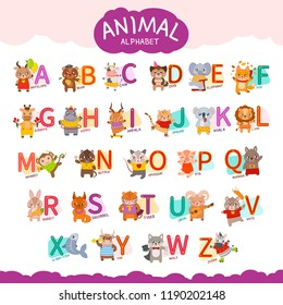 Cute english illustrated zoo alphabet with cute cartoon animals. English letters A to Z set. Learning English vocabulary.