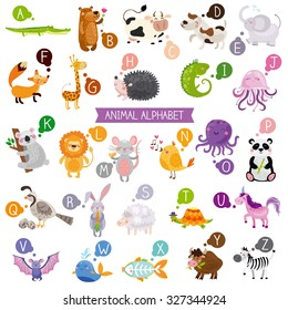 Cute english illustrated zoo alphabet with cute cartoon animals isolated on white background.. Vector illustration for kids education, foreign language study.