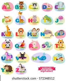Cute english illustrated zoo alphabet with cute cartoon animals isolated on white background. Vector illustration for kids education, foreign language study.