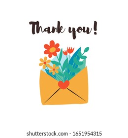 Cute envelope with flowers, plants inside and phrase thank you lettering. Spring flowers bouquet. Love letter flat vector illustration. Happy Valentines day romantic background, banner design concept