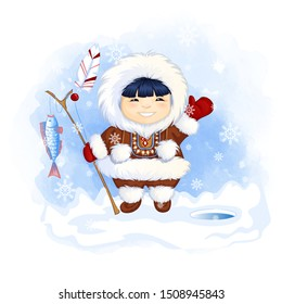 Cute Eskimo boy holds a fishing rod with a caught fish and waves his hand in greeting. Vector cartoon character on a winter watercolor background.