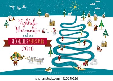 Cute eskimos characters celebrating Christmas and New Year 2016 holidays in little snowy village with a river in tree form. Text in Galician language.