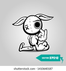 Cute evil rabbit halloween sticker. Angry sewn voodoo bunny. Comic book sketch vector. Stitched thread funny monochrome zombie monster. Finger gesture Ok