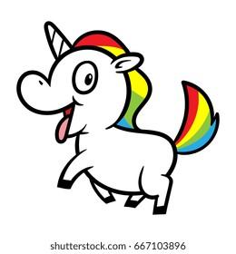 Cute Excited Cartoon Unicorn Vector Illustration